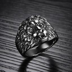 霸氣復古獅子頭戒指男士日韓版個性潮男單身鈦鋼指環飾品批發F433男7號