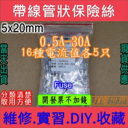 保險絲包 引線 引腳 帶線 帶腳 陶瓷保險絲 5*20 250V 0.5A-30A 常用16種共80只[電世界1032]