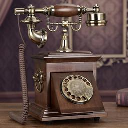 【行運復古】歐式電話仿古復古電話機美式實木家用座機時尚創意老式轉盤電話機