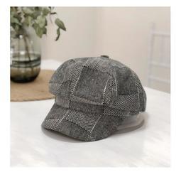 英倫風軍帽拼色格子八角帽女秋冬貝雷帽韓版百搭復古時尚鴨舌帽