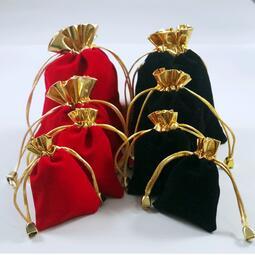 【單項鏈接訂單滿200元起購】紅絨布袋錦布束口袋掛件手鐲手串手鏈植絨袋首飾飾品袋錦囊金口袋