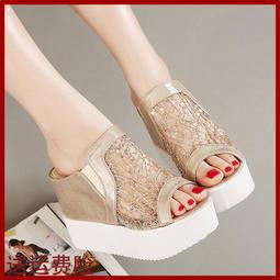 歐美夏季坡跟涼拖鞋超高跟涼鞋內增高厚底松糕蕾絲網紗魚嘴女鞋子