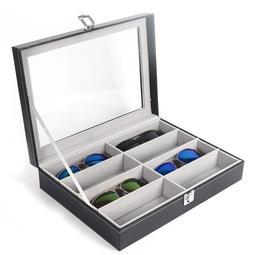 眼鏡收納盒8格12格 時尚太陽鏡展示盒 皮質大墨鏡盒多格 新品