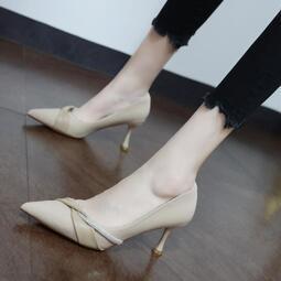 【快速出貨】女鞋 高跟鞋 2020高跟鞋ins仙女細跟水鉆秋季新款時尚淺口洋氣設計感尖頭單鞋