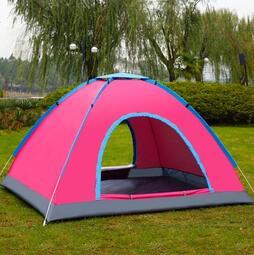 新手入門野外全自動雙人帳篷戶外3-4人家庭2人自駕游露營野營單人帳篷df~幸福尤物~