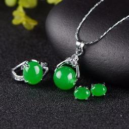 【3款可選 隨意組合】偶玉鑲鉆綠玉轉運珠吊墜+耳釘+活口戒指 項鏈 吊墜 鑽石 純銀 珍珠 寶石