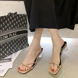 外穿夾趾透明絆帶涼拖鞋女2020年夏季新款韓版百搭水晶粗跟高跟鞋